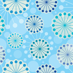 Vector abstract flowers seamless pattern.