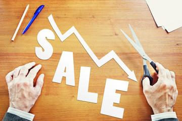 Decrease of sales. Abstract conceptual image