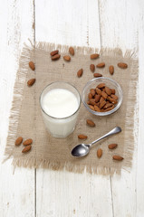 cold almond milk in a glass