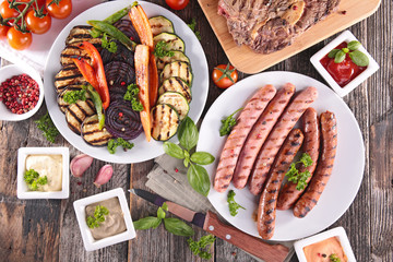 Papiers peints Grill, Barbecue assortment of barbecue meal