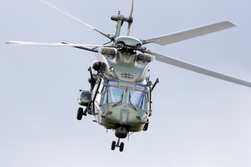 Military transport helicopter take off