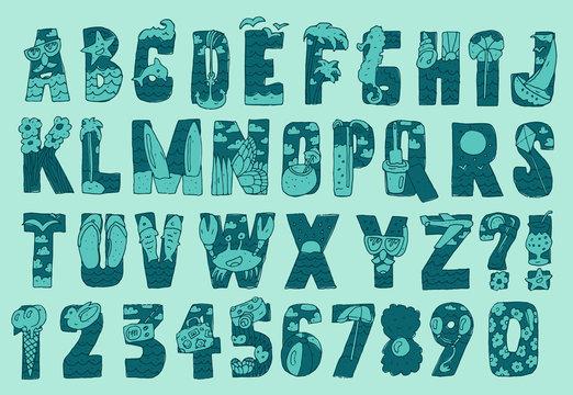 Original Summer Beach Font Type Vector