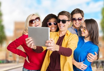 Group, photo, tablet.