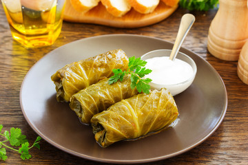 Stuffed cabbage with meat and rice.