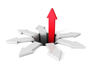 Successful Red Arrow Rising Up From Crisis Hole. Business Concep