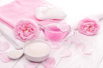 sea salt and essential oils, pink tea rose flower. spa