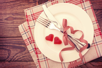 Valentine day love beautiful. Romantic dinner, tableware hearts.
