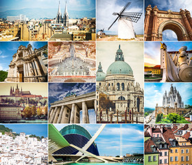 collage with ancient cities of europe