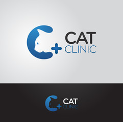 Simple and clever vector graphic Cat and C letter symbol