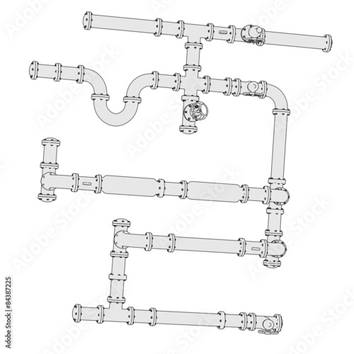 2d illustration of industrial pipes