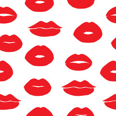 Seamless vector background with female lips.