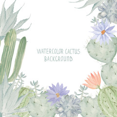 Watercolor cactus background. Succulent pattern, may be used in