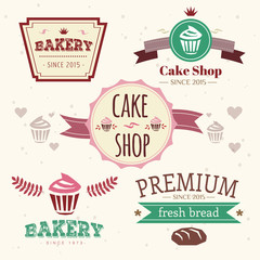 Abstract vector cake vintage logo elements set. Cakes, bread