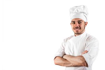 cuoco sorridente in divisa bianca