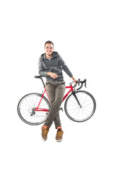 Young Male On Bicycle Isolated Over White Background