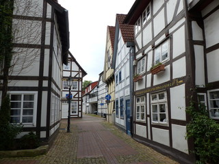 Historic half-timbered houses in Hameln, Germany