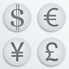 Business flat icons major currencies symbol