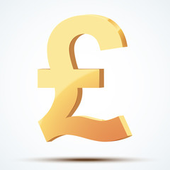 Golden symbol of pound