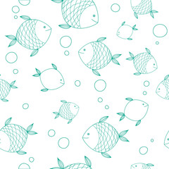 Seamless pattern with hand drawn cute fishes.