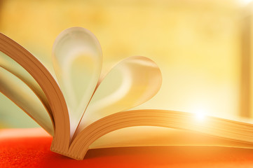 Heart with book pages.soft focus