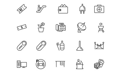 Hotel and Restaurant Line Icons 4