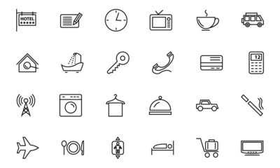 Hotel and Restaurant Line Icons 1