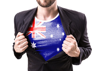 Businessman stretching suit with Australia Flag on white