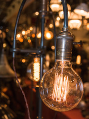 vintage electric carbon light, amber bulb Filament