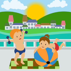 The girl and the boy are doing exercises in the summer