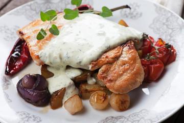 Grilled chicken steak in gorgonzola sauce