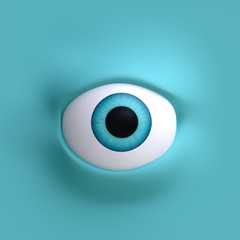 Cartoon eyes element face for character. 3d illustration.