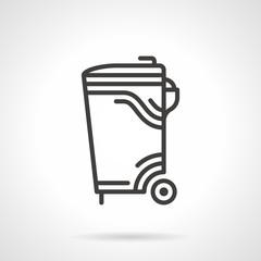 Garbage bin black line vector icon