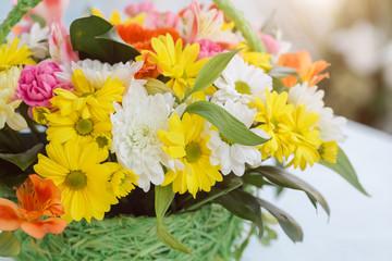Bouquet flower in basket