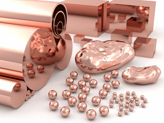 Copper spheres, pipes, rods and cubes of different sizes.