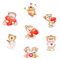 Wall Murals Bears Set of cute Teddy bear with red hearts
