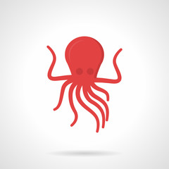 Flat style red octopus vector icon