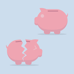 Piggy bank vector flat icon , EPS10 vector illustration