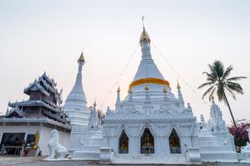 White pagoda in Wat Phra That Doi Gongmu landmark of Maehongson