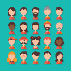 Avatar flat stylish icons for graphic and web design