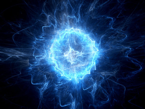 Blue glowing ball lightning