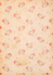 stained vintage paper background with roses