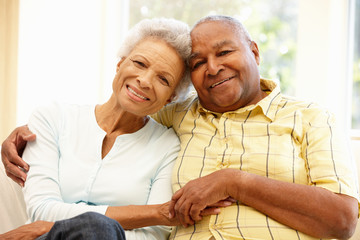 Senior African American couple at home