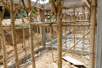 the building structure during construction
