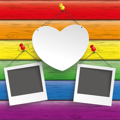 Square Rainbow Wood Heart Photo