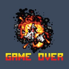 space ship on fire pixel game over message pixel art illustration
