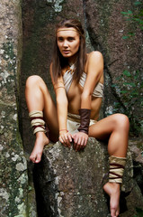 Primitive woman. Amazon woman