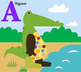 Animal alphabet for the kids: a for the Aligator