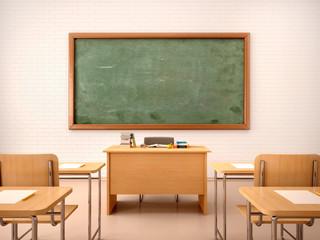Fototapeta 3d illustration of bright empty classroom for lessons and traini obraz