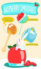raspberry smoothie with almond milk vector