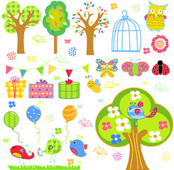 Birds, blooming trees, flowers and insects background